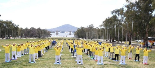 Rally of Falun Gong practitioners in front of Parliament Building on September 11-12, 2017.