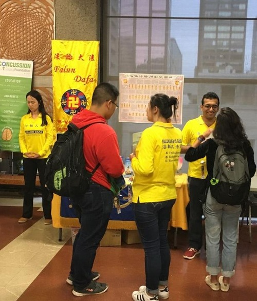 Falun Dafa at McGill, a new student organization, takes part in McGill University's Activities Night.