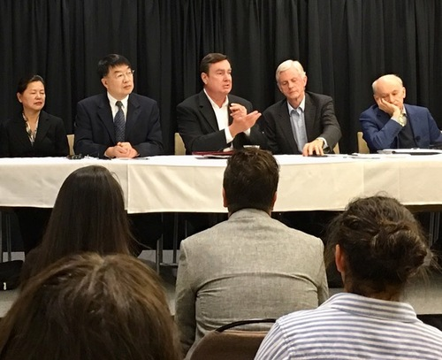 "Panel members at San Diego State University, November 1, 2017, (L to R): Ms. Grace Huiying Li, Dr. Shizong Chen, Senator Joel Anderson, Hon. David Kilgour, and David Matas. California State Senator Joel Anderson (center) speaks about the importance of getting SJR 10 back on the Senate floor. He said, ""We cannot tolerate interference from a communist foreign power with the state legislature."""