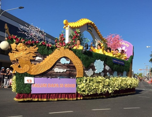 The Falun Gong float, one of the highlights of the Toowoomba Carnival of Flowers event parade.