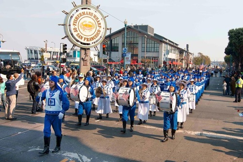 Falun Gong procession passes by Fisherman's Wharf.