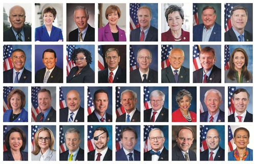 These 34 members are Sens. Patrick Leahy (D-Vt.), Susan Collins (R-Maine) and Chris Van Hollen (D-Md.); and Reps. Marcy Kaptur (D-Ohio), Brenda Lawrence (D-Mich.), Ron Kind (D-Wis.), William Lacy Clay (D-Mo.), Gwen Moore (D-Wis.) Blaine Luetkemeyer (R-Mo.), Bill Foster (D-Ill.), Rep. Paul Tonko (D-N.Y.), Paul Gosar (R-Ariz.), Jaime Herrera Beutler (R-Wash.), Vicky Hartzler (R-Mo.), Steve Stivers (R-Ohio), Mark Pocan (D-Wis.), Rodney Davis (R-Ill.), Glenn Grothman (R-Wis.), Jack Bergman (R-Mich.), Van Taylor (R-Tex.), Angie Craig (D-Minn.), Madeleine Dean (D-Pa.), David Trone (D-Md.), Daniel Crenshaw (R-Texas), Dean Phillips (D-Minn.), Ron Wright (R-Texas), Tom Tiffany (R-Wis.), Anthony Gonzalez (R-Ohio), and Del. Eleanor Norton (D-DC).