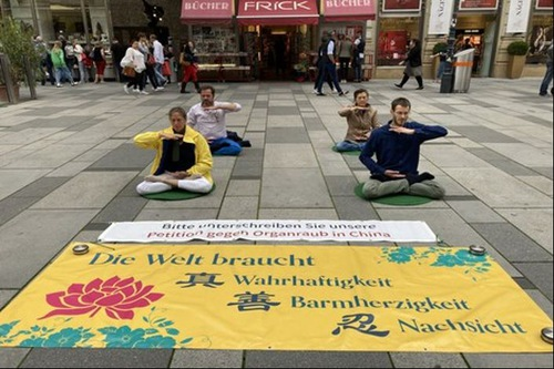 Falun Gong exercise demonstration on the Graben, a famous shopping street in the heart of Vienna's inner city.