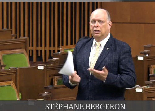 Stéphane Bergeron, spokesperson for the Bloc Québécois in foreign affairs, explains the motion on February 18, 2021.
