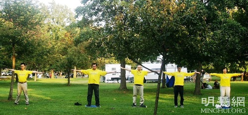 Practitioners demonstrate the Falun Dafa exercises during the US Open at Flushing Meadows on September 11 and 12.