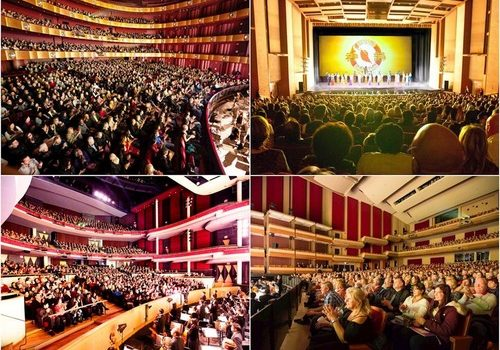 Shen Yun performances at: (left to right, top to bottom) The David H. Koch Theater at Lincoln Center in New York City, New York; the Community Center Theater in Sacramento, California; the Living Arts Centre in Mississauga, Canada; and the Centre In The Square in Kitchener, Canada.