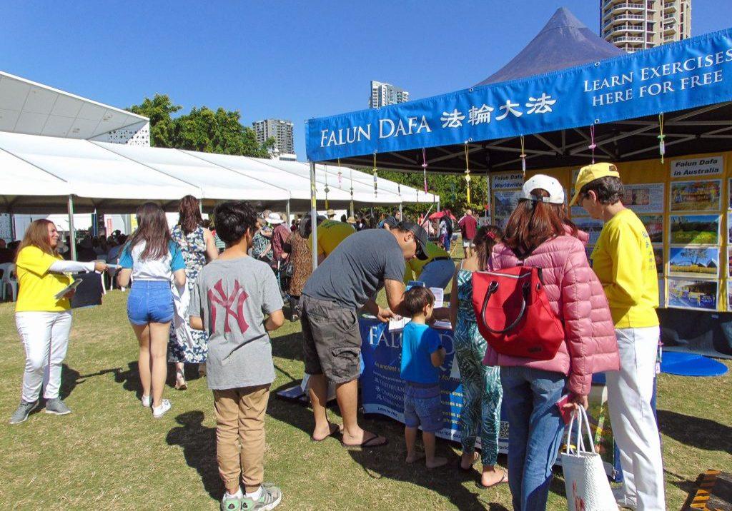 Falun Dafa stall at Gold Coast Multicultural Festival.