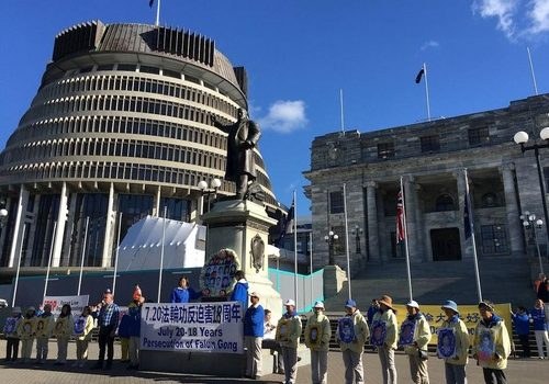 MP of the Green Party, Mr. Steffan Browning speaks at the rally in front of the New Zealand Parliament.
