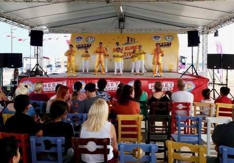 Practitioners did the exercises on stage during both days of the Solu Sun festival in Mersin, Turkey.