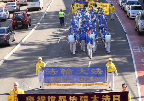 Parade led by the Tian Guo Marching Band in Sydney, Australia.