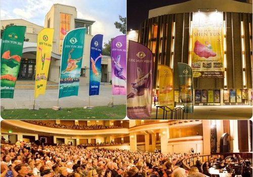 The Shen Yun New York Company performed seven sold-out shows at two theaters in San Diego County, California, between January 30 and February 4, 2018. Upper left: the California Center for the Arts in Escondido. Upper right: the San Diego Civic Theatre in San Diego. Bottom: Shen Yun's performance at the San Diego Civic Theatre on the evening of January 30.