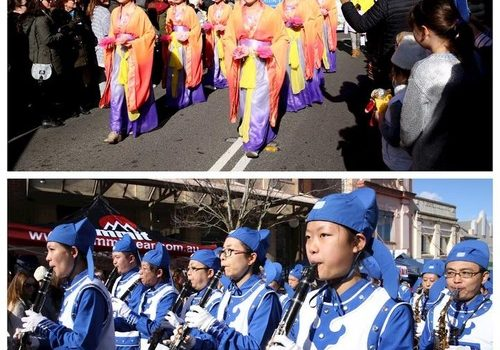 Falun Gong procession in the Winter Festival Parade in Australia's Blue Mountains.