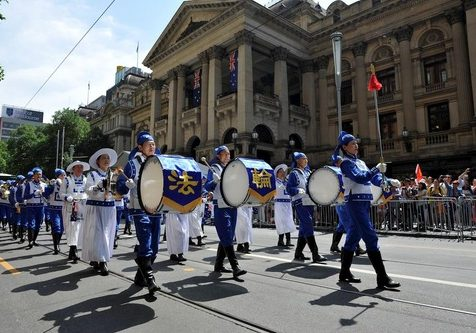 The Tian Guo Marching Band performs during the Australia Day 2018 Parade in Melbourne on January 26.