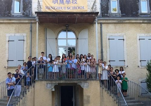 Young Falun Gong practitioners and their parents at the Minghui summer camp in Mane, Haute-Garonne