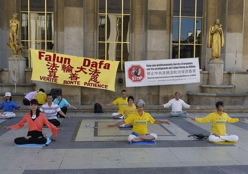 Falun Gong practitioners sit in meditation.