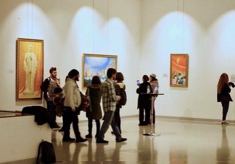 Visitors at The Art of Zhen-Shan-Ren International Exhibition in Ankara.