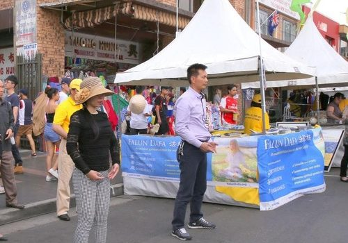 Falun Gong practitioners demonstrate the exercises at the Moon Festival in Cabramatta near Sydney on September 24, 2017.