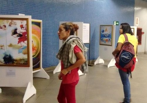 The Art of Truth, Compassion, Forbearance Exhibition held in the halls of subway stations in Brazil.