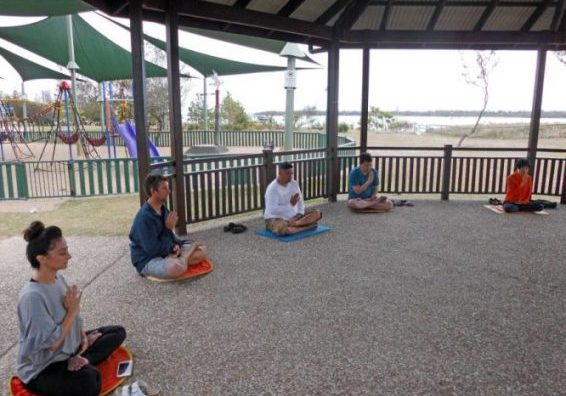 A local exercise practice site where local Falun Dafa practitioners teach the exercises to anyone who wants to learn.
