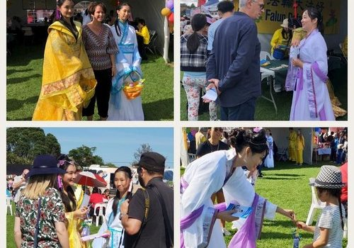 Practitioners introduce Chinese culture and Falun Dafa to spectators.