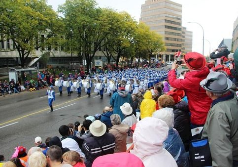 The Tian Guo Marching Band in the annual Kitchener-Waterloo Oktoberfest Thanksgiving Day parade.