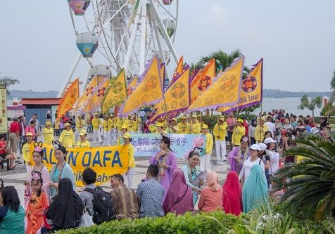Falun Gong parade in Coastarina, Batam.