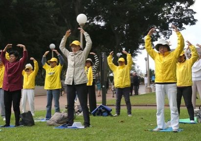 Practitioners in Sydney demonstrate the Falun Gong exercises in Hyde Park.