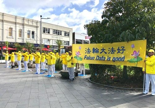 Falun Dafa practitioners demonstrate the exercises.