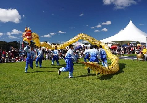 Dragon dance by Falun Gong practitioners.
